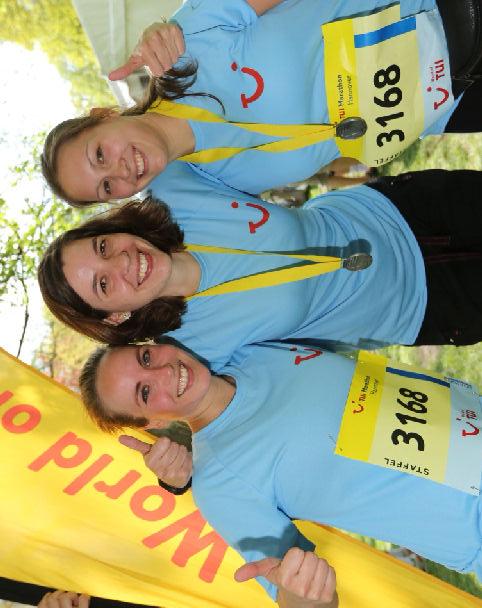 Drei Viertel des Staffelteams der Unternehmenskommunikation: Mareike, Kathrin und Julia.
