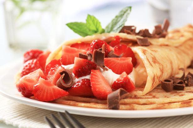 Crepe mit Erdbeeren