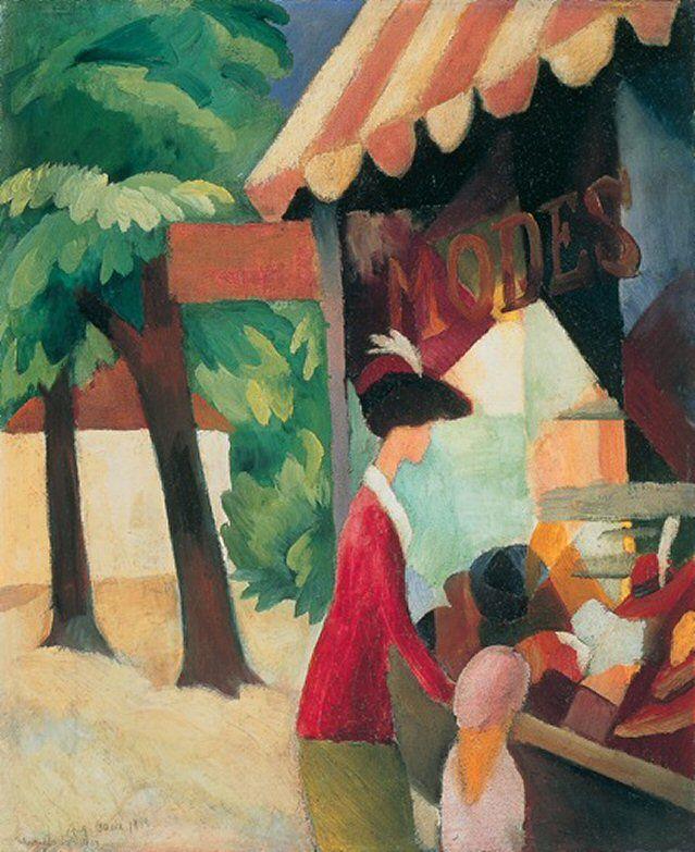 Vor dem Hutladen Gemälde