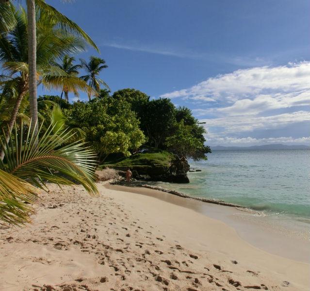 Strand mit Palmen und einem Menschen im Hintergrund