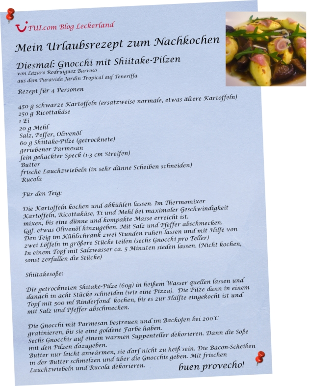 Urlaubsrezept zum Nachkochen: Gnocchi mit Shiitake-Pilzen