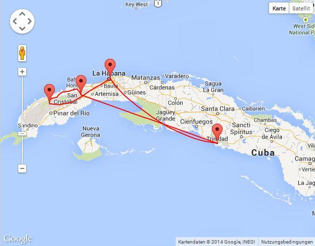 Die Route durch Kuba auf der Karte