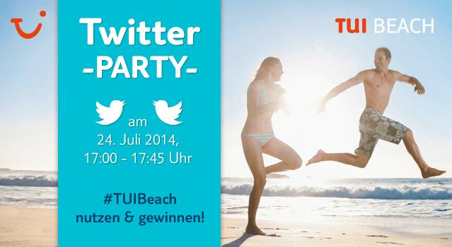 Die zweite TUI Twitter-Party #TUIBeach findet am Donnerstag, den 24. Juli, von 17:00 bis 17:45 Uhr statt.
