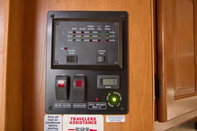 Füllstände von Batterie, Wasser, Abwasser und Gas können hier abgelesen werden.