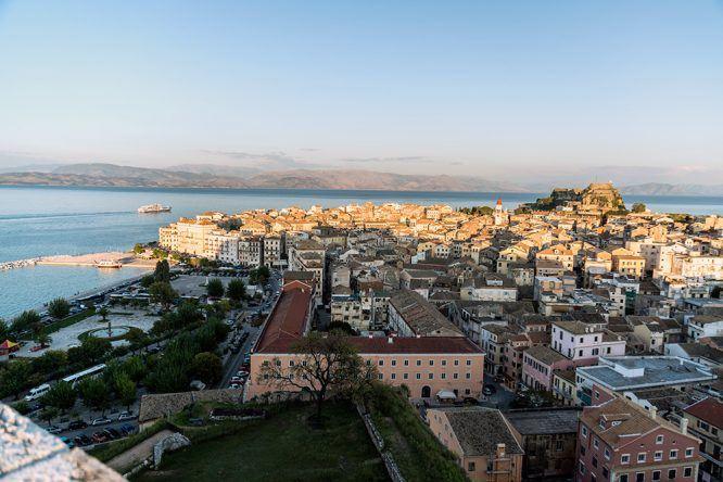 Blick Neue Festung Korfu