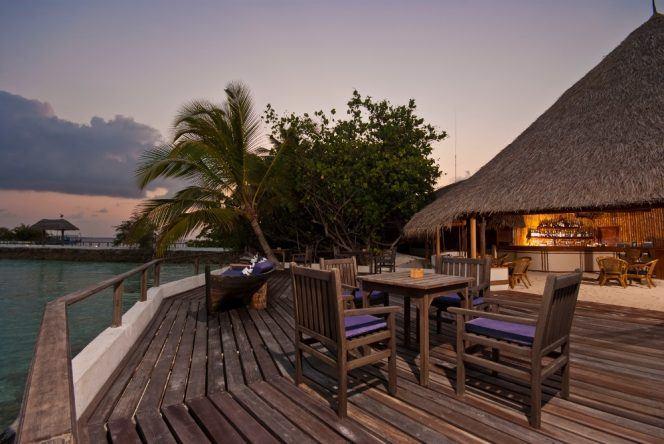 Romantische Abendstimmung auf Makunudu Island.