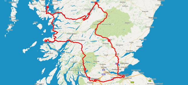 Karte Schottland-Tour