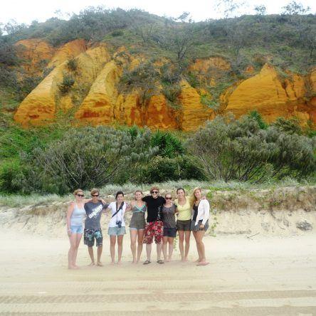 Die Felsen in rot und orange