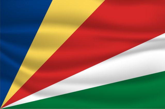 Schön bunt: Die Flagge der Seychellen