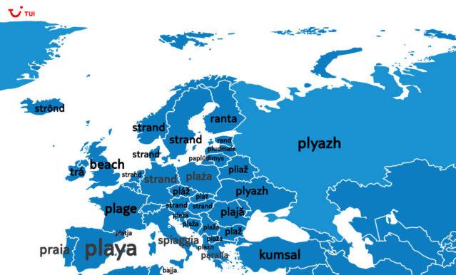 Europakarte der Übersetzungen von Strand