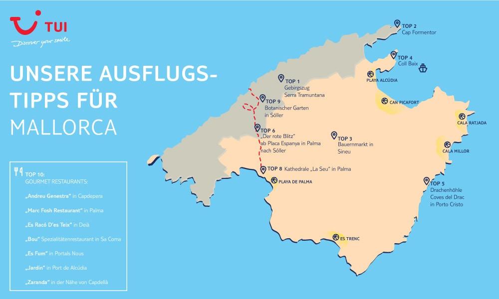 Karte der Top 10 Mallorca Ausflüge