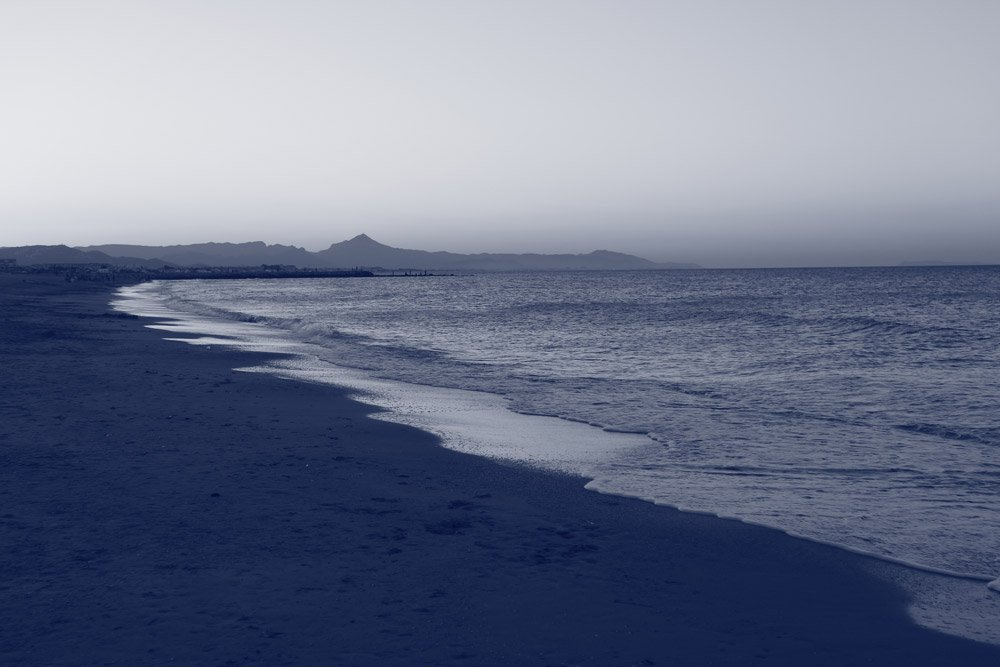Strand in blau