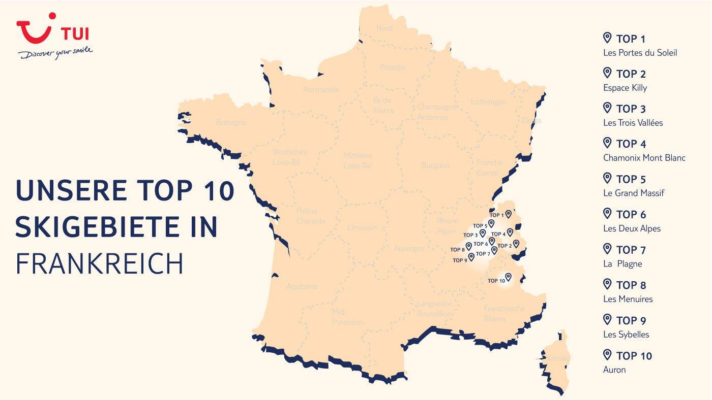 skigebiete frankreich karte Skiurlaub in Frankreich   Die TOP 10 Skigebiete in Frankreich im