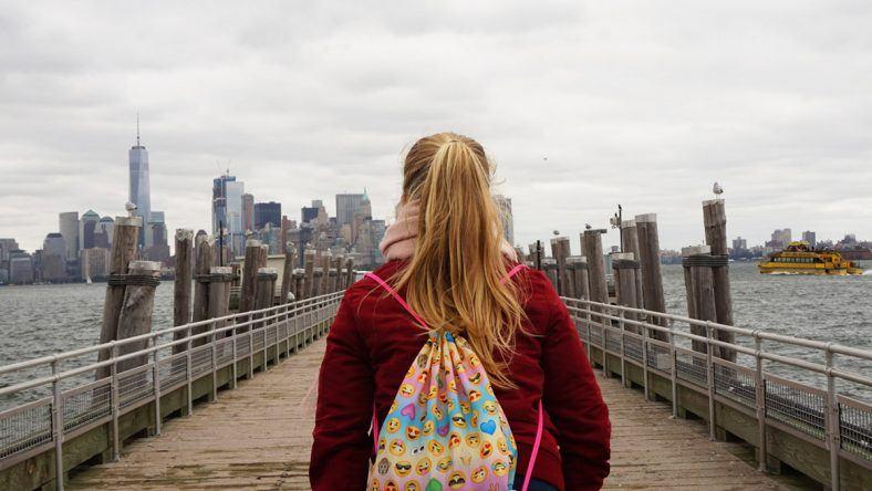 New York, Liberty Island, Skyline Manhattan.