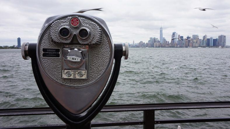 New York, Liberty Island, Skyline Manhattan