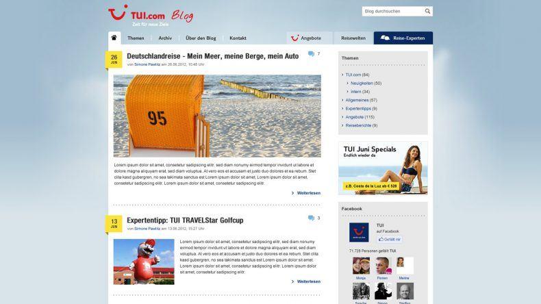 TUI Blog Design zum Start