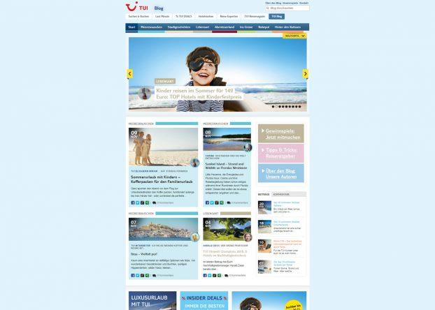 Bis gestern sah unser TUI Blog noch so aus