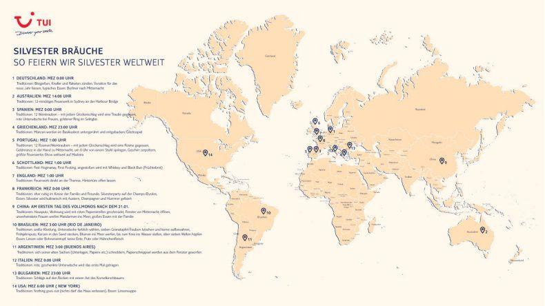 Alle Silvesterbräuche weltweit auf einem Blick