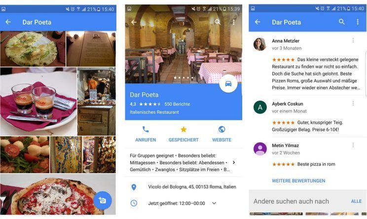 Google Maps Empfehlung speichern