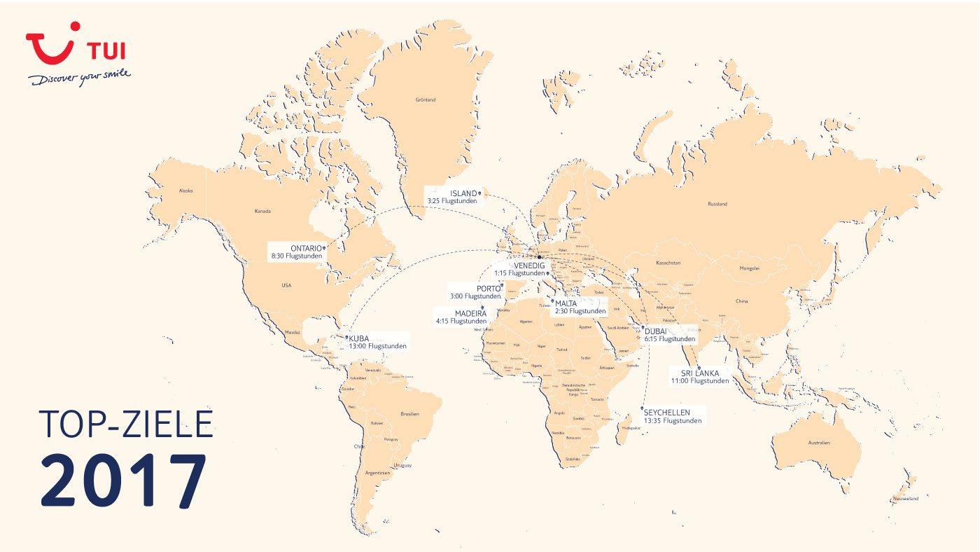 Mit Klick auf das Bild bekommt ihr unsere Karte der Top Reiseziele 2017 in Großformat (alle Entfernungen ab Frankfurt)