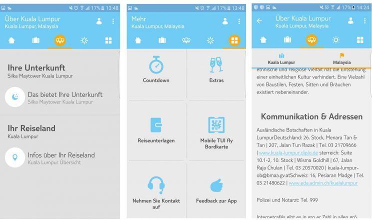 TUI App Inhalte und Infos