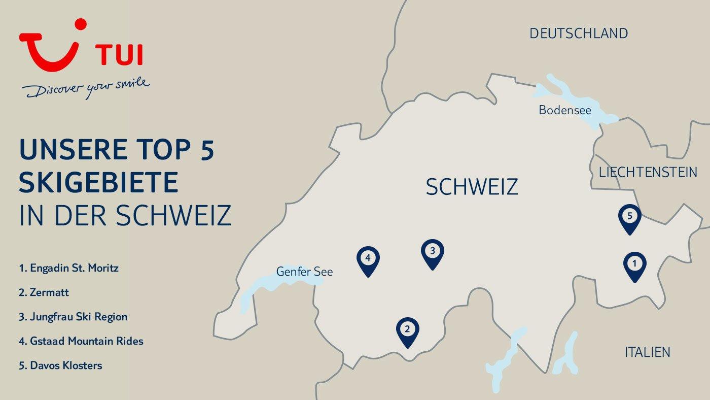 TOP 50 Skigebiete Schweiz - Grüezi im Winterwunderland! - TUI Reiseblog - Deutschland Und Schweiz Karte