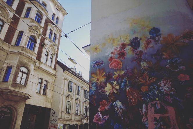 Streeetart Mural Blumen Wien
