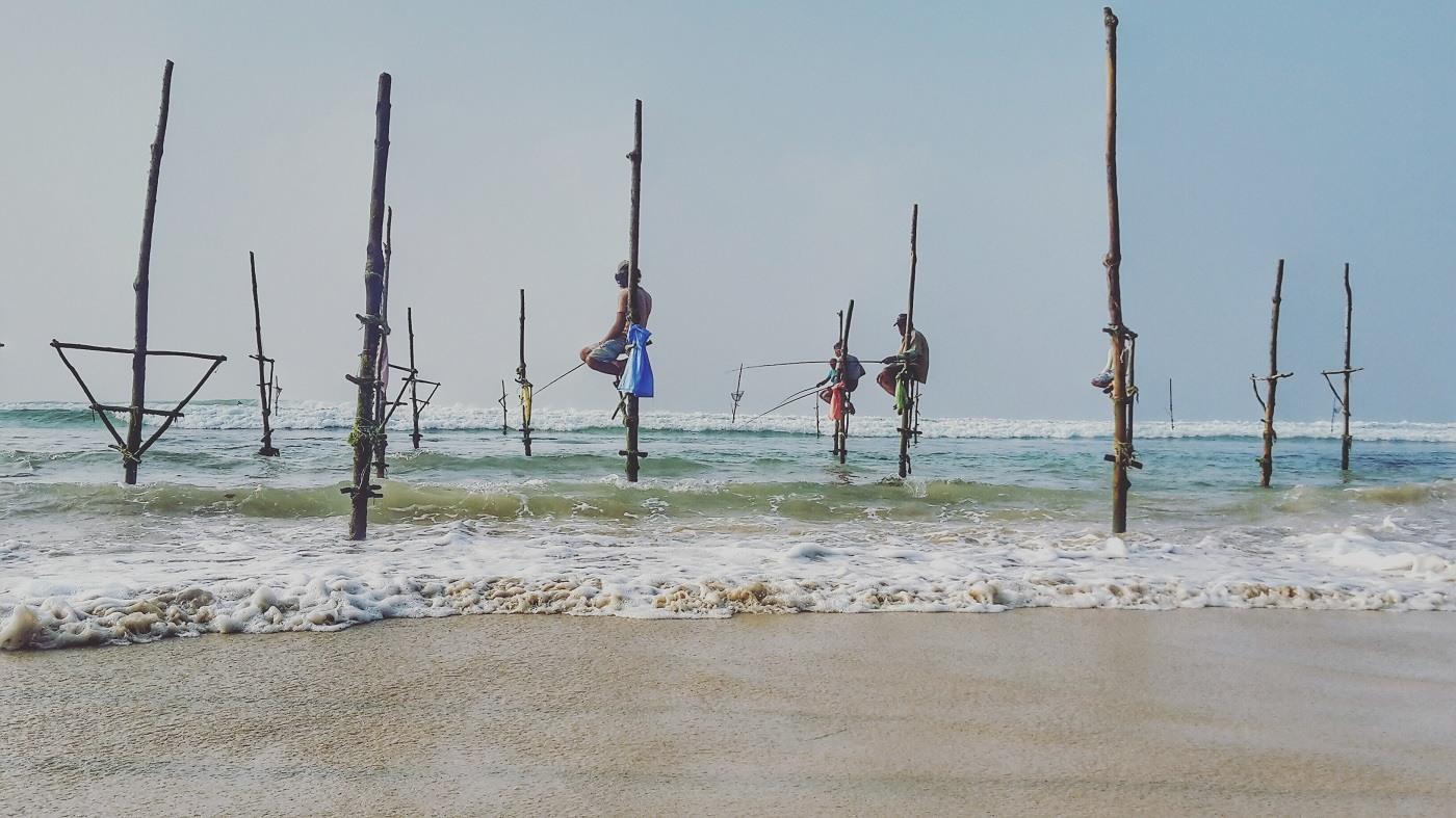 Stick-Fisherman am Sri Lanka Srand