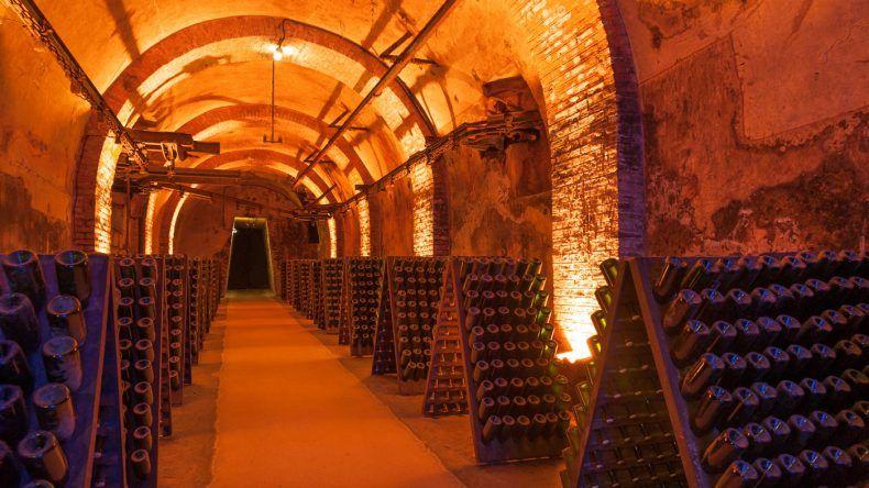 Im Weinkeller werden die Champagnerflaschen gelagert und gären.