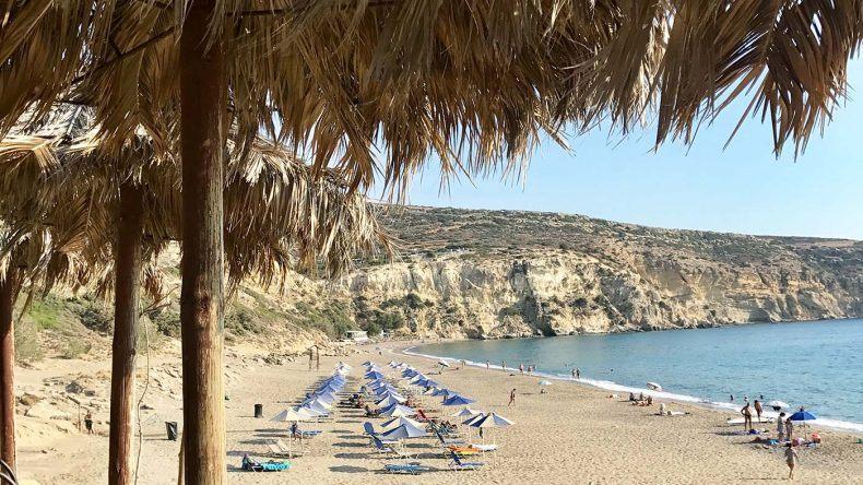 Blick von der Strandbude am Kommos Beach