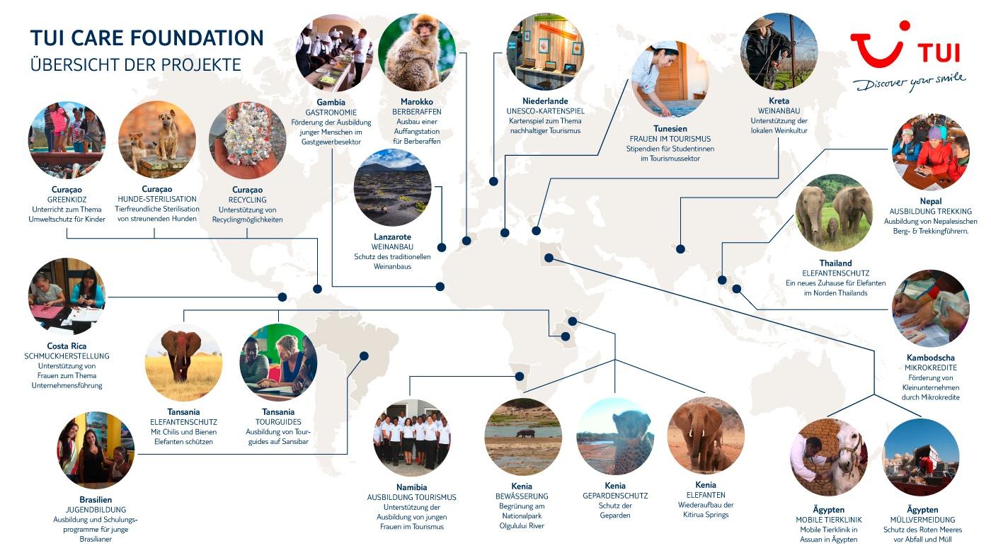 Weltkarte: Hier engagiert sich die TUI Care Foundation
