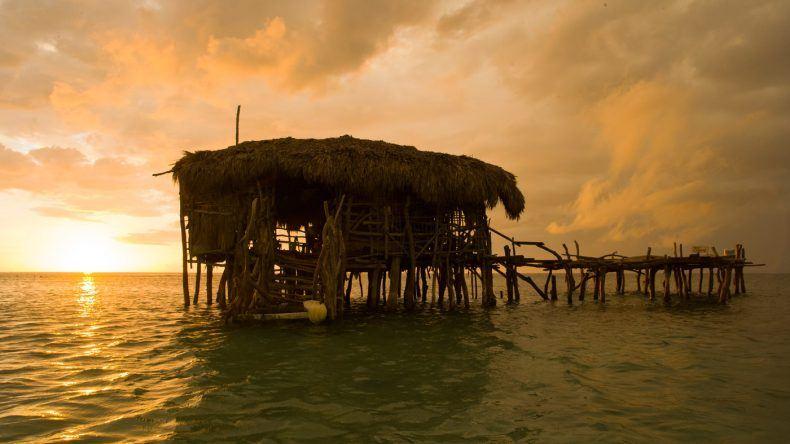 Die Pelikan Bar steht mitten im Wasser. Mit einem Boot wirst du hingebracht.