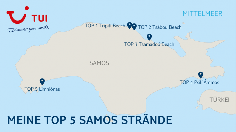 Meine TOP 5 Samos Strände findet ihr auf dieser Karte