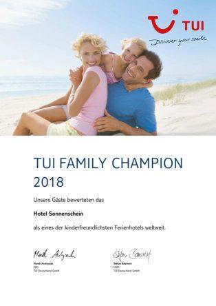 Urkunde für die TUI FAMILY Champions
