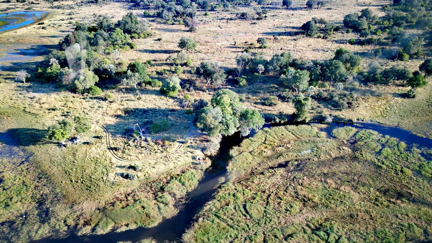 Das Okavango Delta von oben