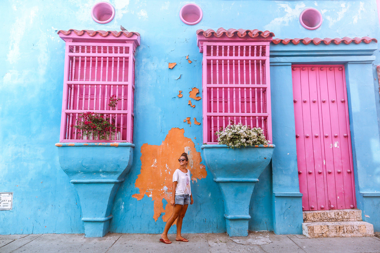 Bunte Häuschen in Cartagena