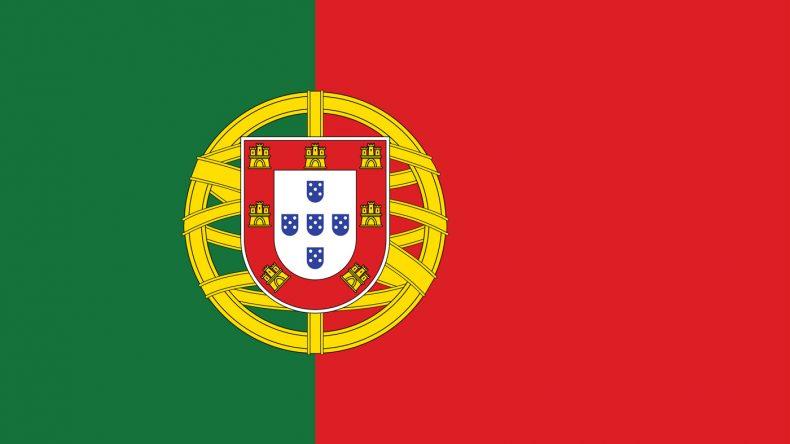 Portugals Flagge: Ebenfalls grün/rot mit einer Armillarsphäre, also ein Navigationsgerät, auf der ein Wappen zu sehen ist.