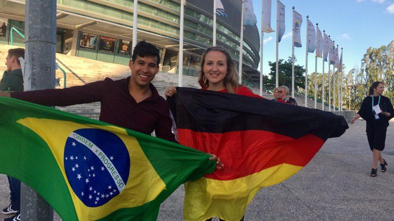 Carina und Edu beim ESC in Lissabon