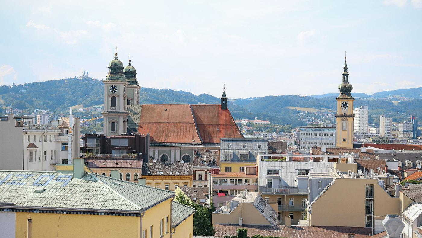 Die schönste Aussicht über Linz, bis hin zum Pöstlingberg gibt es oben beim Höhenrausch