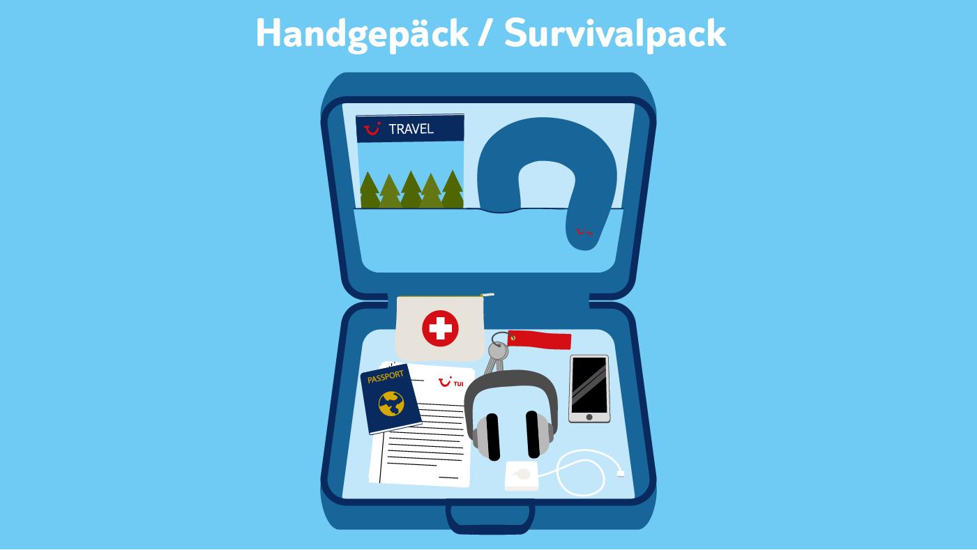 Die wichtigsten Dinge sollten im Handgepäck verstaut werden: Pass, Geldbeutel, Hausschlüssel, Reiseunterlagen und Handy sowie Medikamente.