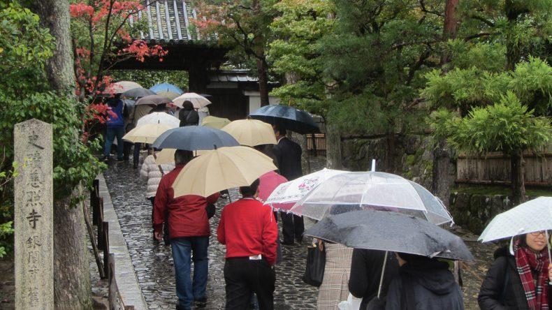 Trotz des schlechten Wetters in Kyoto schieben sich die zahlreichen Touristen durch die Stadt - hier gerade auf dem Weg zum Ginkaku-Ji Tempel.