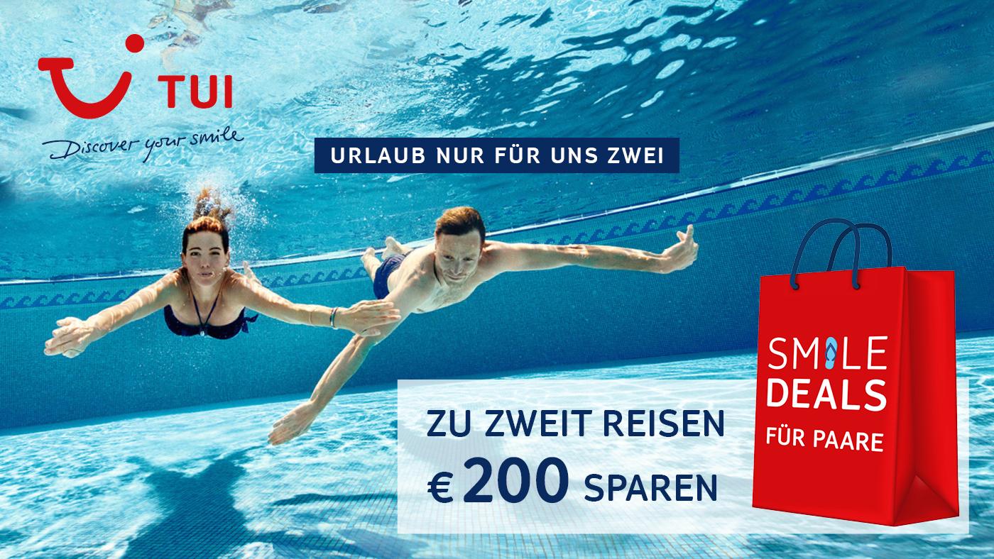 Mit dem TUI Aktionscode TUI100 könnt ihr derzeit zu zweit reisen und 200 € sparen! Viele der hier aufgeführten Hotels machen mit bei der Aktion.