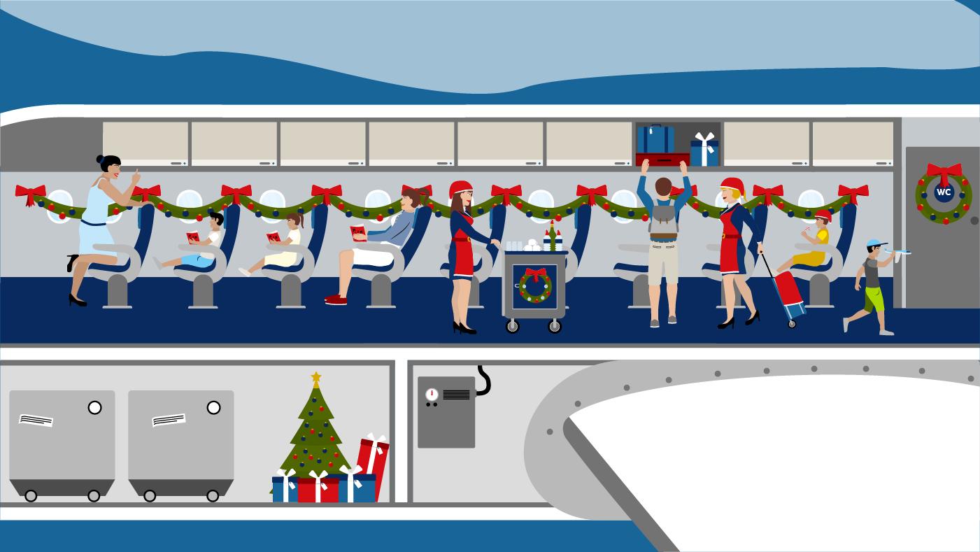 Ein Flugzeug voller Weihnachtswichtel auf dem Weg nach Lappland