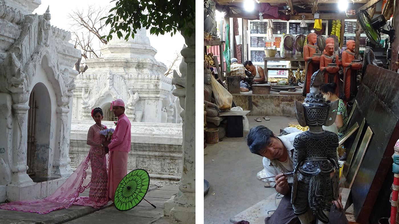Links: Die Kuthodaw-Pagode / Rechts: Handwerkskunst in Mandalay