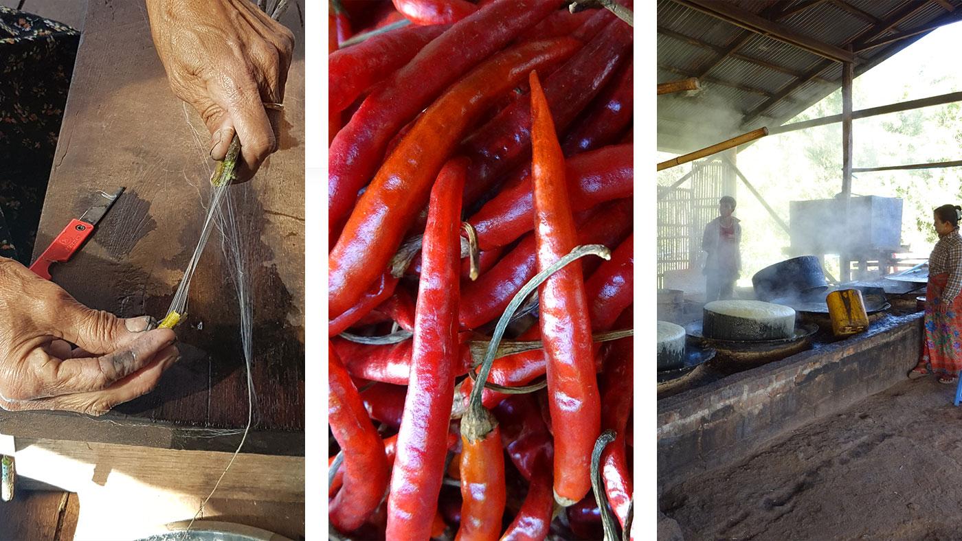 Links und Mitte: Auf dem Markt in Kalaw / Rechts: Während unserer Trekking Tour dürfen wir die Produktion von Süßigkeiten aus Rohrzucker beobachten