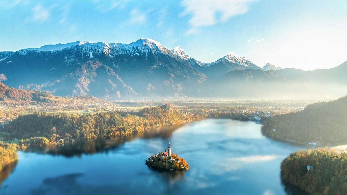 Der berühmte Bleder See und die Insel Blejski Otok - die einzige Insel Sloweniens