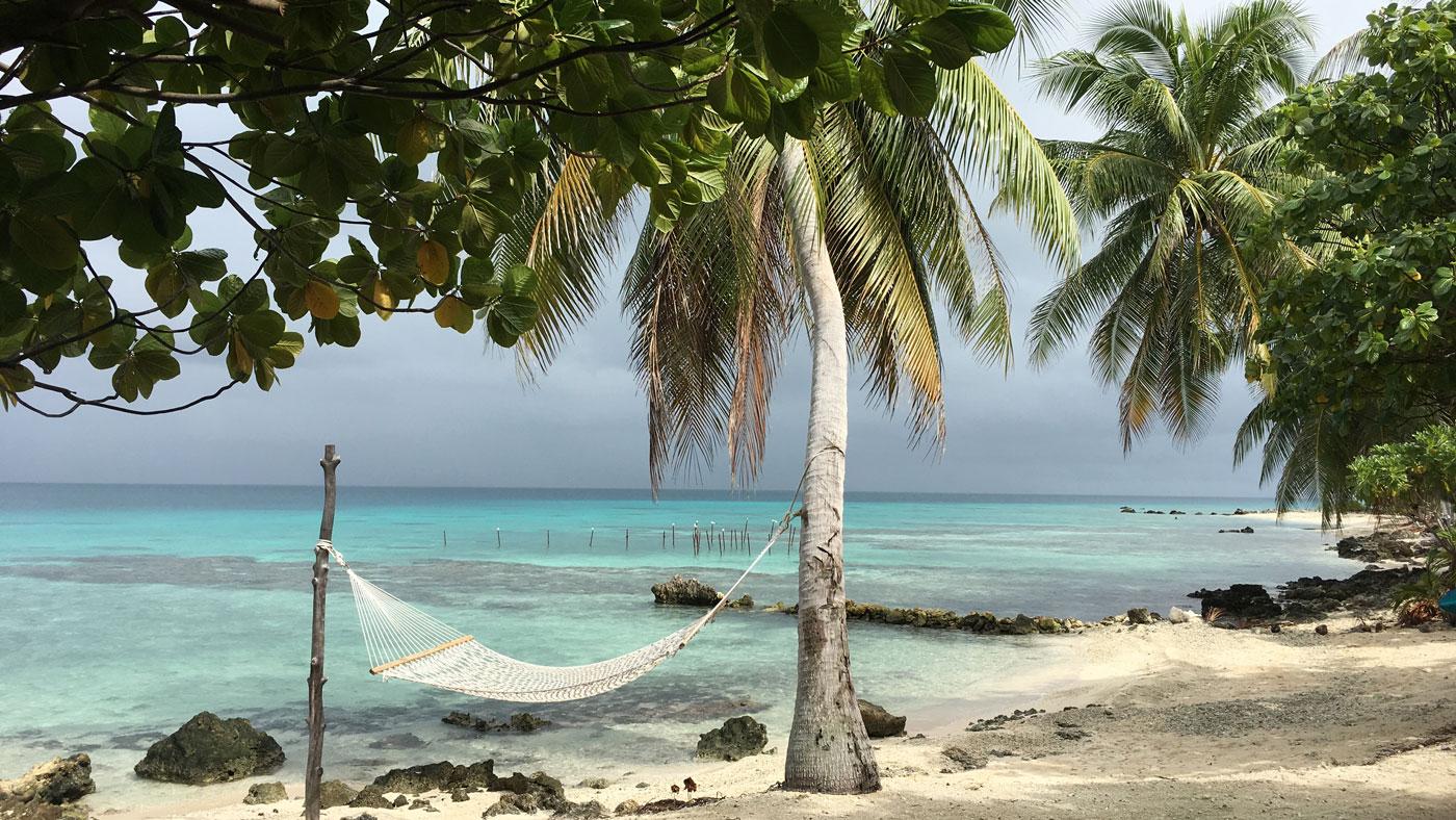 Hängematte am Strand: So schön stellt man sich einen Urlaub auf Französisch Polynesien vor. Hier auf dem Atoll Rangiroa