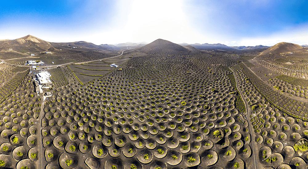 Die Weinberge von La Geria auf Lanzarote sind eine der weltweit einzigartigsten Landschaften.
