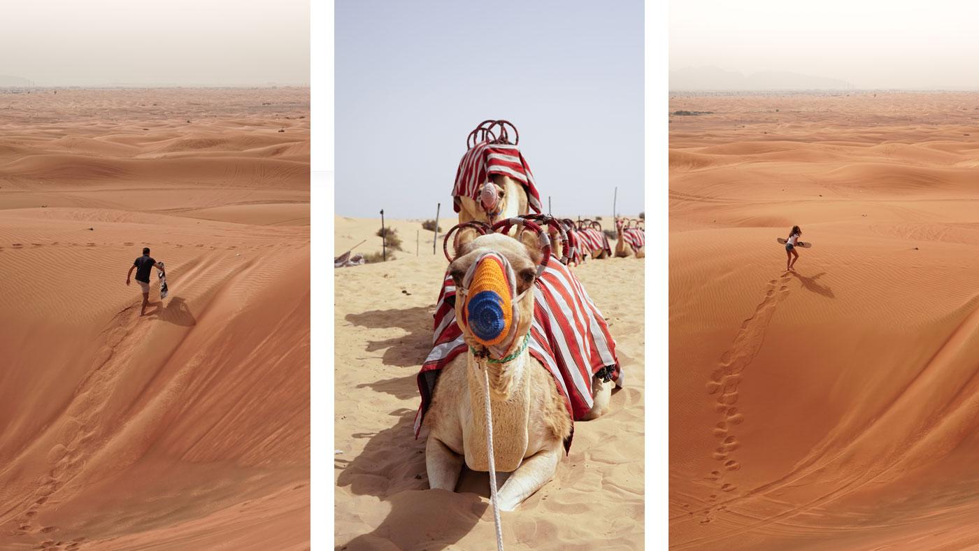 Sandboarding in der Wüste Dubais