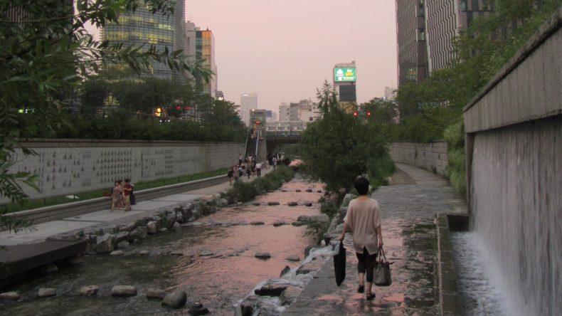 Der renaturierte Cheonggyecheon lädt zu ausgedehnten Spaziergängen ein.
